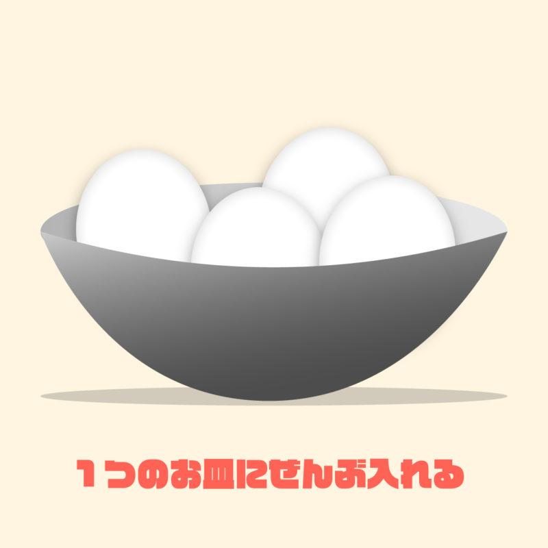 分散投資を卵でイメージしたイラスト