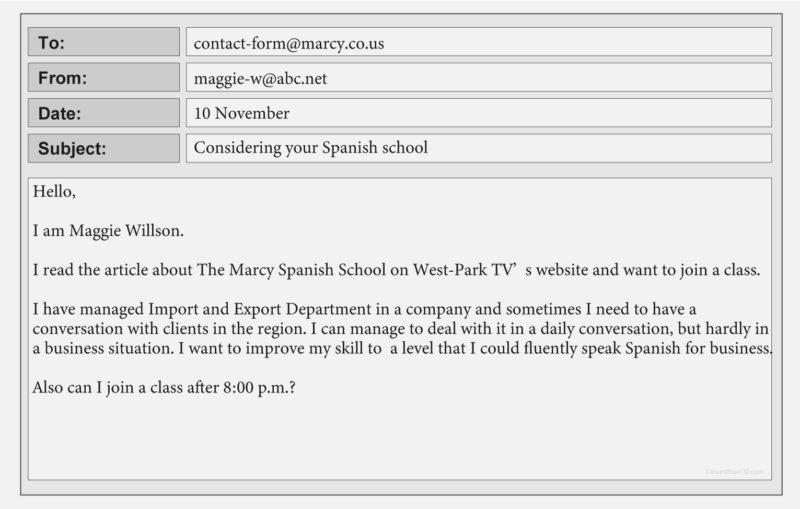 TOEIC Part7 練習問題 空欄あり(Marcy Spanish School)メール