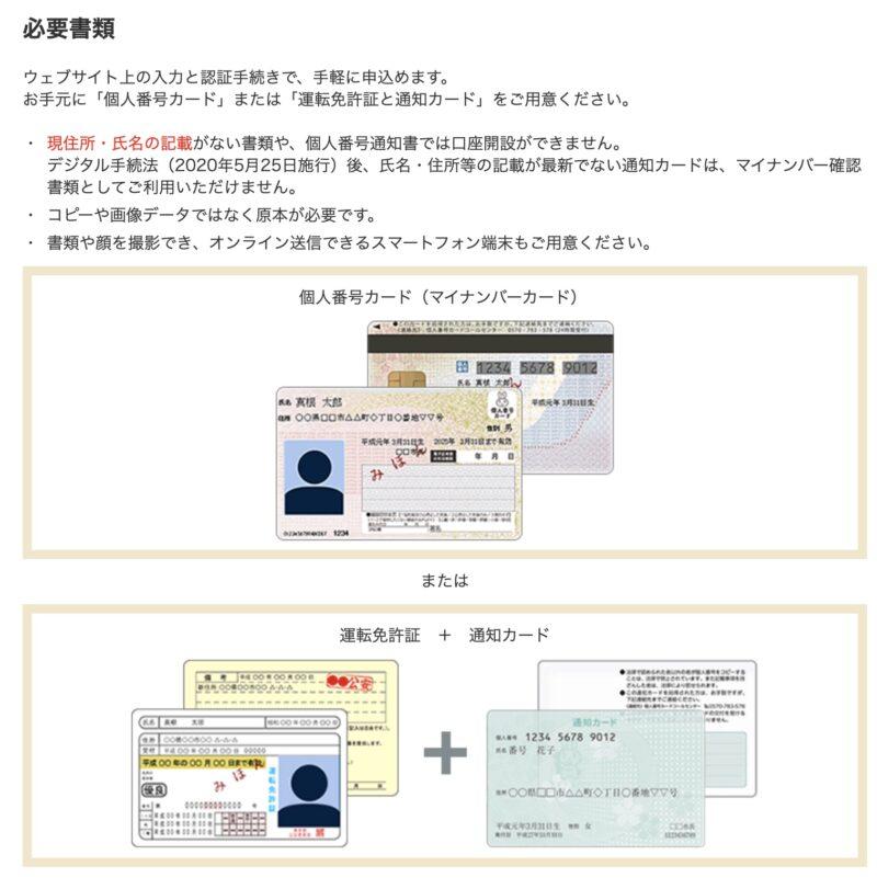 マネックス証券:本人確認書類の選択