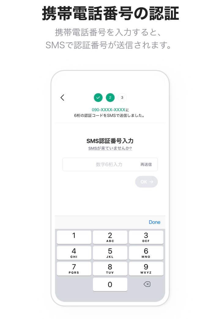 LINE証券の口座開設のための携帯電話番号の認証